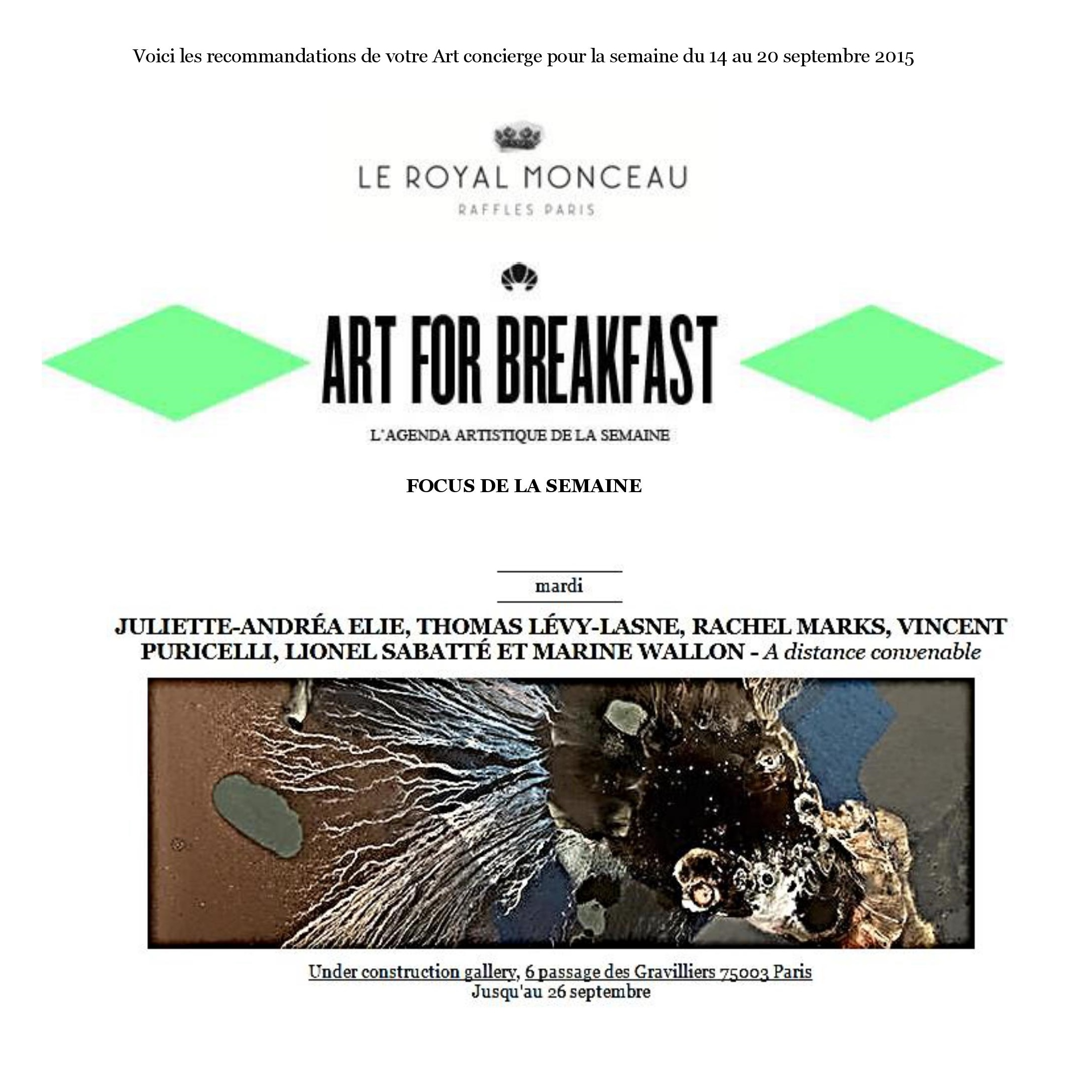 ART FOR BREAKFAST - 14 septembre