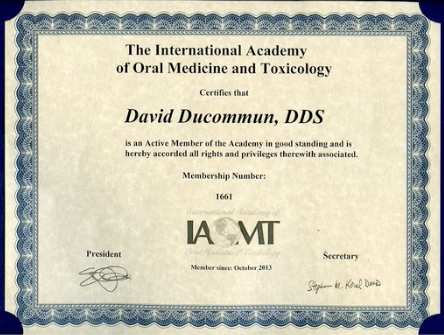 Certificate from the International Academy of Oral Medicine and Toxicology