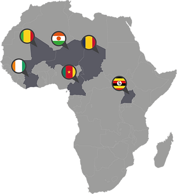 Interactive map of Cameroon, Chad, Cote d'Ivoire, Mali, Niger, Uganda