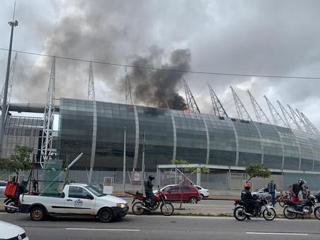 Cabine de rádio da Arena Castelão pega fogo na manhã deste sábado