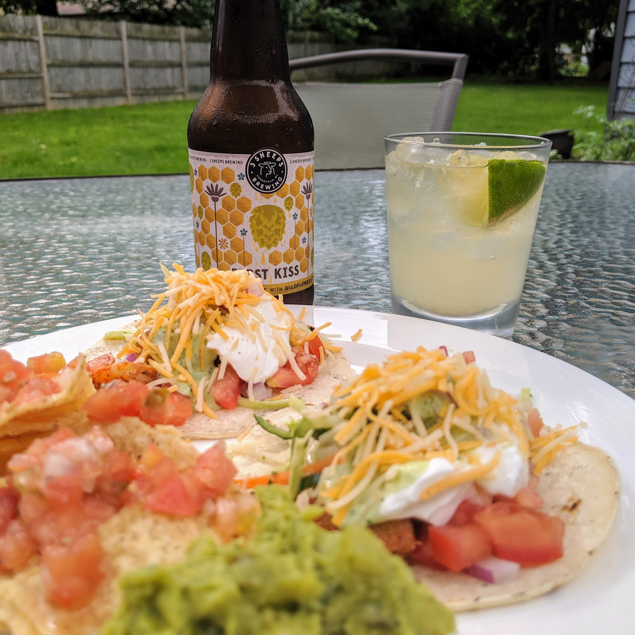 Shrimp tacos with beer and a beer-rita