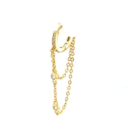 Single Gold Duo Crystal Hoop Chain