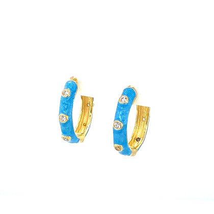 Pair Of Turquoise Enamel Crystal Hoops