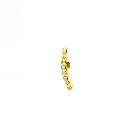 Single Gold Curved Crystal Stud Climber