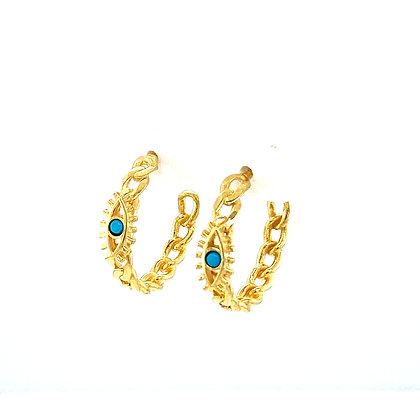 Pair Of Turquoise Evil Eye Hoops
