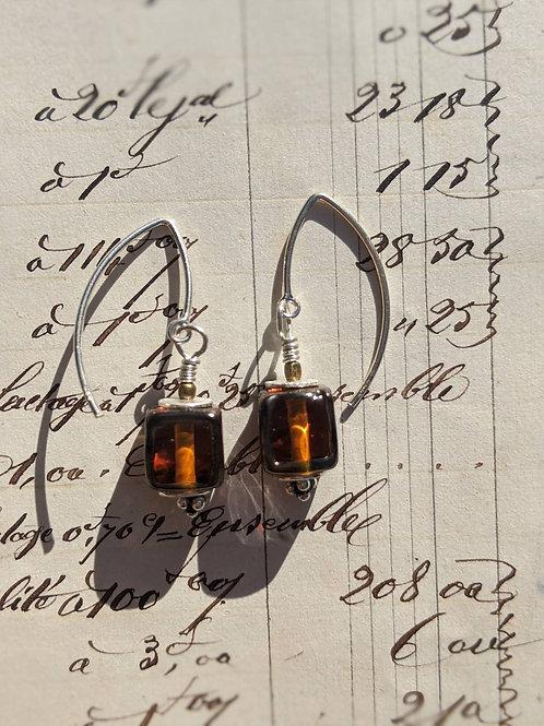 Glass cube earrings