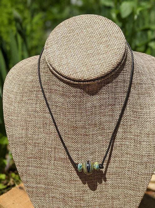 Lampwork bead choker necklace