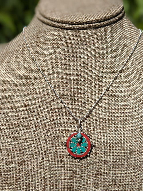 Turquoise and coral Nepalese pendant