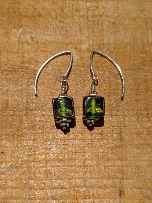 Clear glass cube earrings