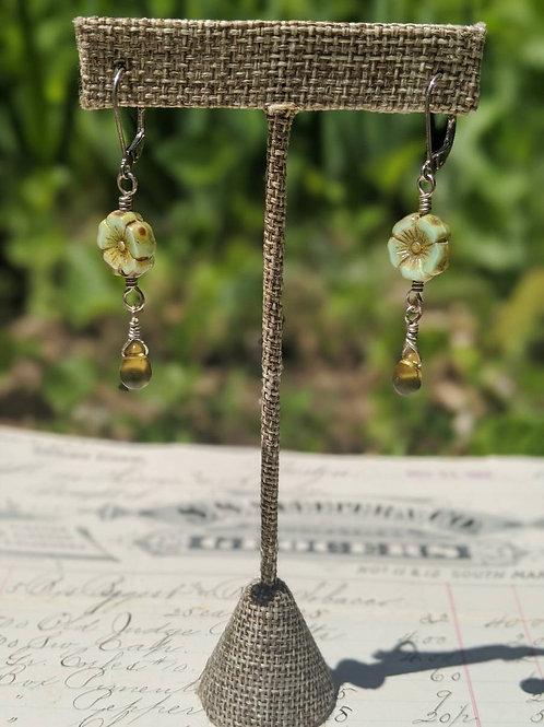 Czech glass flower earring
