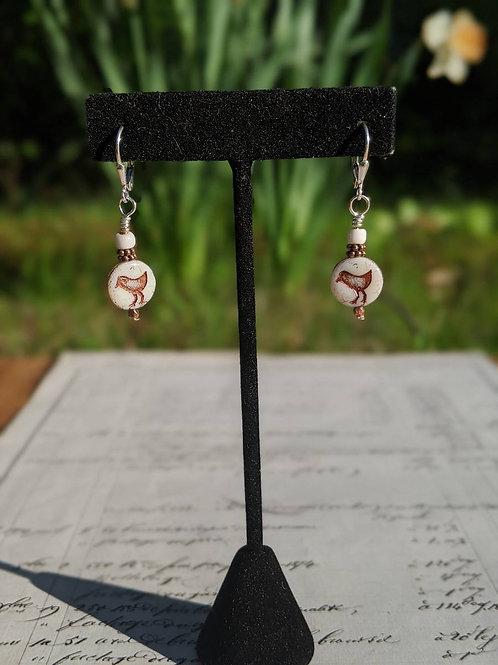 Czech glass bird earring