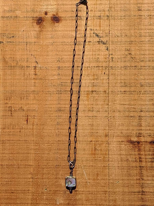 Copper chain necklace with lamp-work pendant