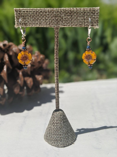 Czech glass flower earring