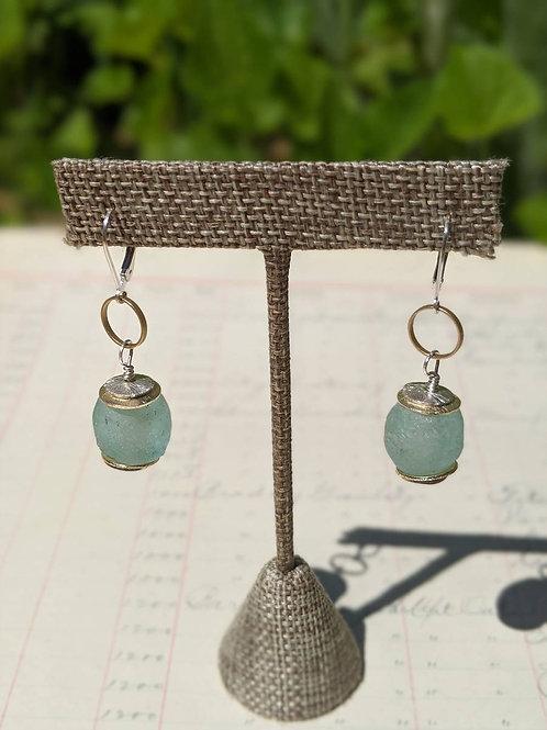 African glass earrings