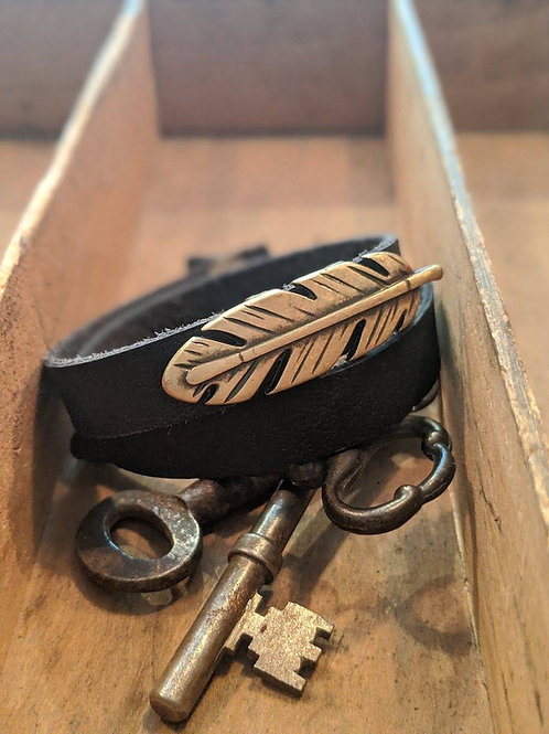 Double wrap recycled leather bracelet with charm