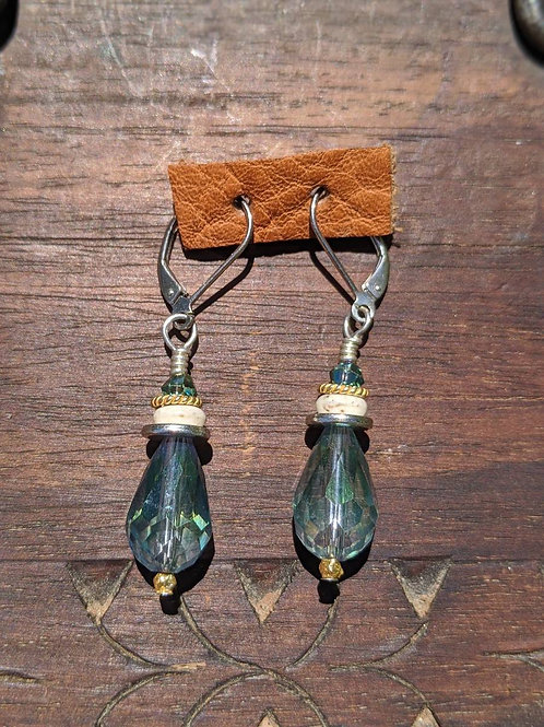 Czech glass faceted teardrop earring