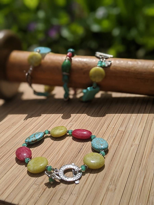 Turquoise agate and jade beaded bracelet