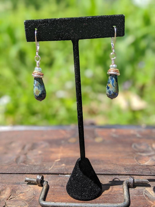 Czech glass teardrop earring