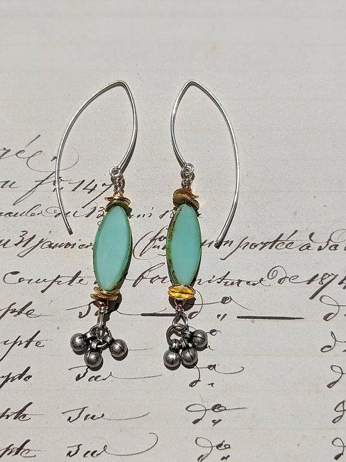Oval Czech glass earrings