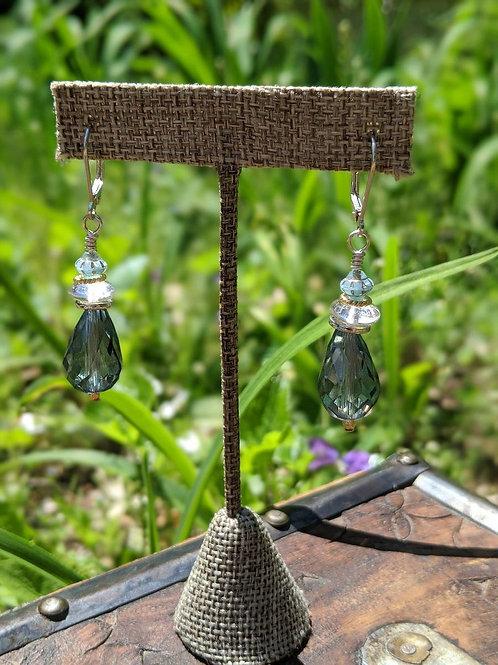 Czech glass faceted teardrop earring