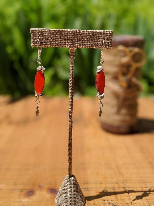 Orange oval Czech glass earrings