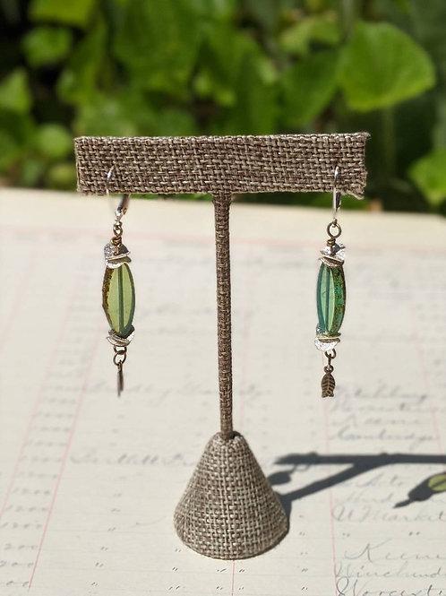 Turquoise oval Czech glass earrings