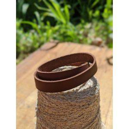Double wrap recycled leather bracelet