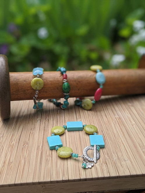 Turquoise and jade bracelet