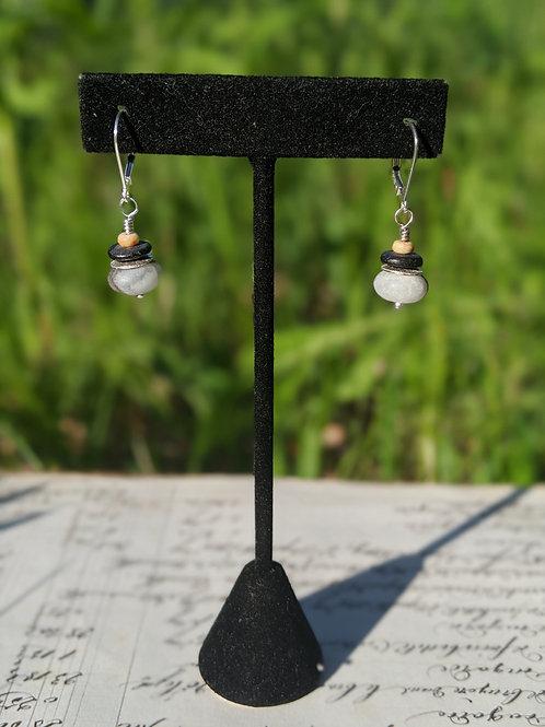 Matte beach stone earrings
