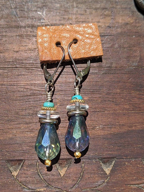 Czech glass faceted teardrop earring.