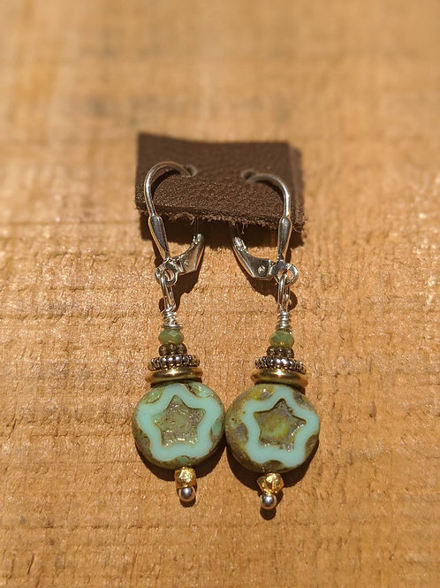 Czech glass star earring