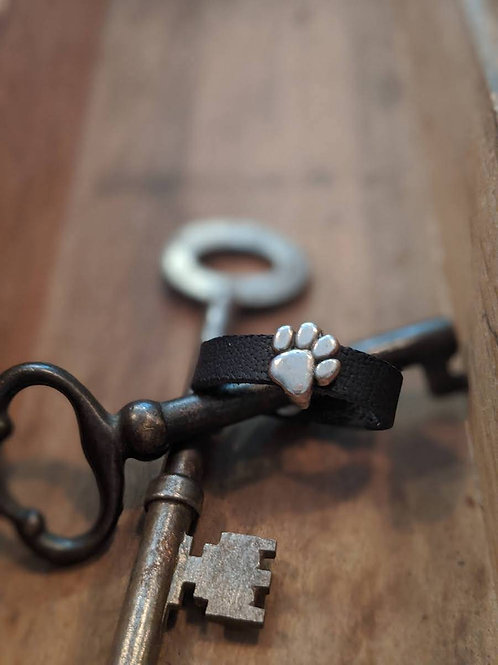 Recycled leather ring with paw print charm