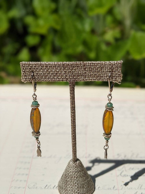 Oval Czech glass earrings