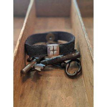 Single wrap recycled leather bracelet with charm