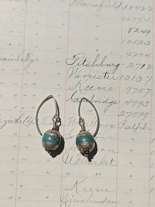 Turquoise Nepal earrings