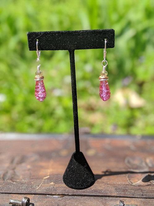 Czech glass teardrop earring