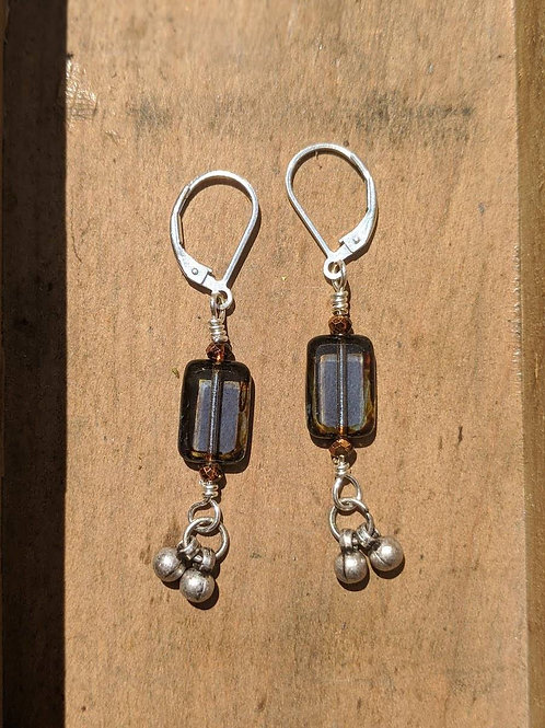 Clear indigo Czech glass earrings