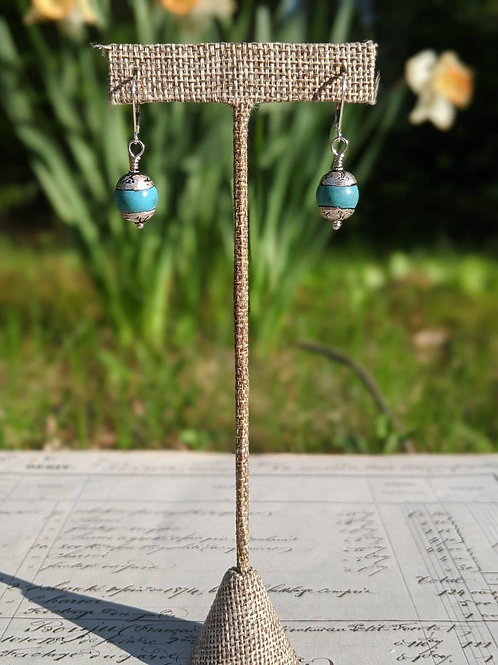 Turquoise Nepal earrings