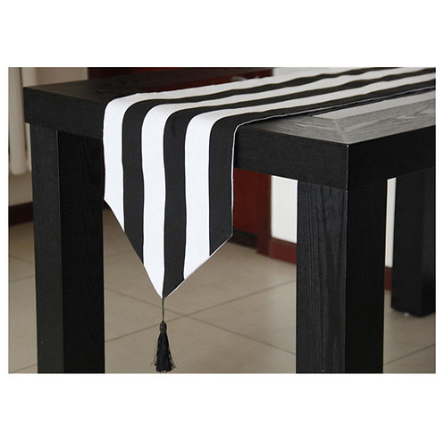 Table Runner Black & White Stripes