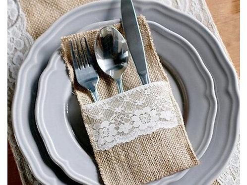Hessian Cutlery Holders x 10pc