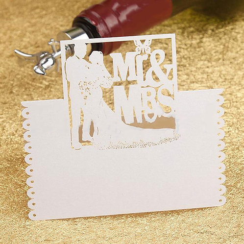 White Mr & Mrs Place Name Cards x 50pc