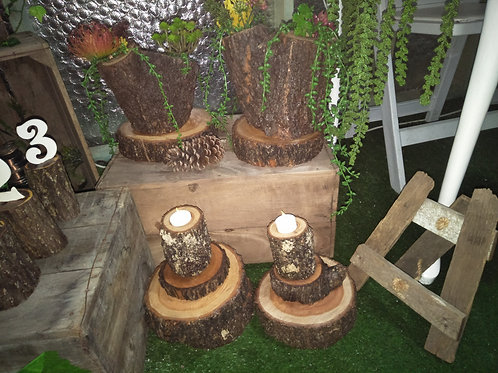Rustic Log Tealight Holders with LED Candles