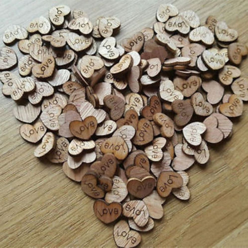 100x Rustic Wooden Love Heart Wedding Table Scatters