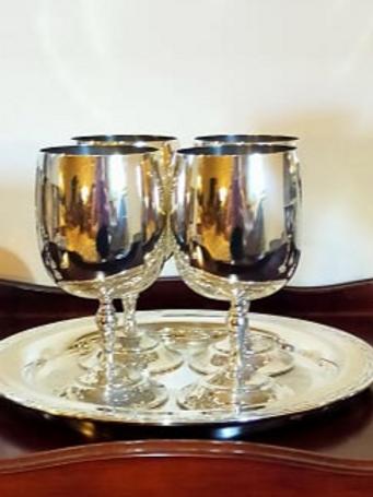 Ranleigh Silver Goblets x4 & Tray