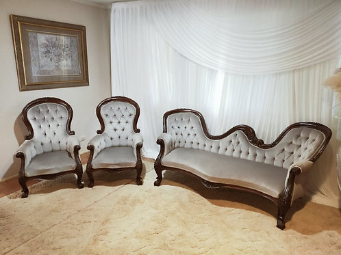 Antique French Lounge -Chaise 3 Seater