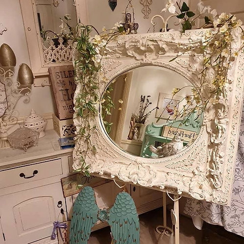 Large White Ornate Mirror & Easel