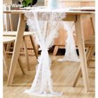 Lace Table Runner Fringe Edge Floral Cloth