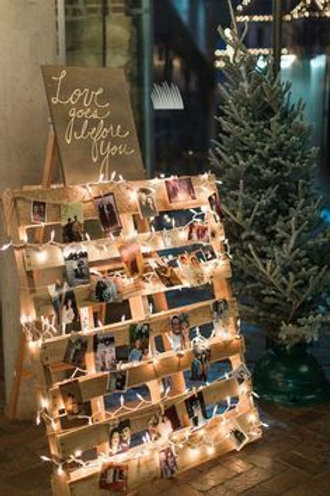 Pallet Wall with Fairy Lights