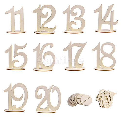 Natural wooden table numbers 1-20