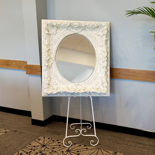 Beautiful White Ornate Mirror & Easel